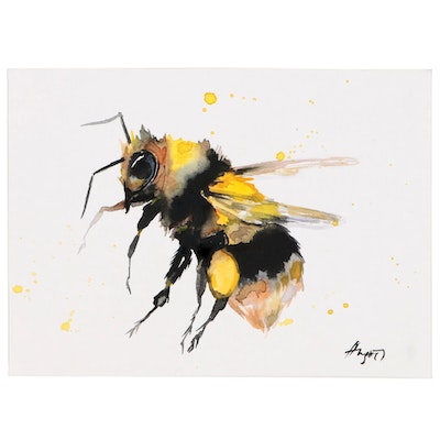 Anne Gorywine Watercolor Painting of Bumblebee