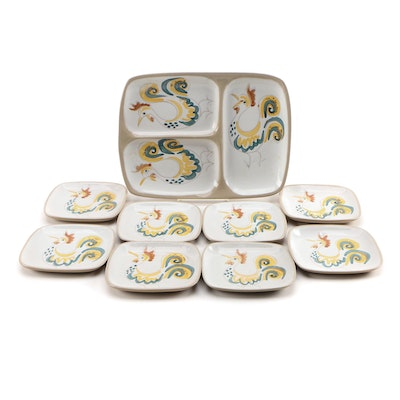 Glidden Pottery Rooster Themed Ceramic Plates and Tray, Mid-20th Century