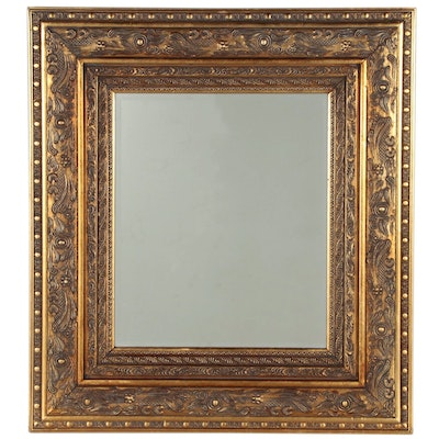 Giltwood and Gesso Beveled Wall Mirror with Relief Decoration