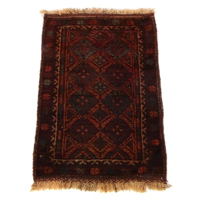 2'2 x 3'3 Hand-Knotted Persian Baluch Rug, 1930s