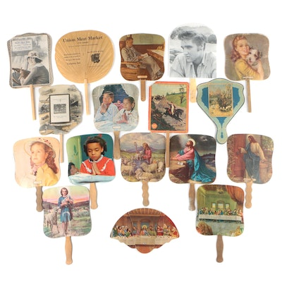 Advertising Cardboard Hand Fans, Early-Mid 20th Century