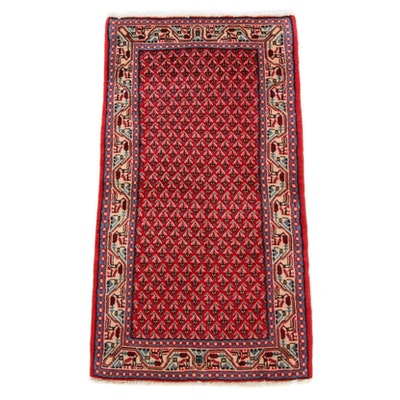 2'2 x 4'2 Hand-Knotted Persian Mir Sarouk Rug, 1980s