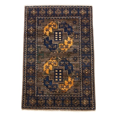 2'1 x 3'3 Hand-Knotted Afghan East Turkestan Turkoman Rug, 2010s