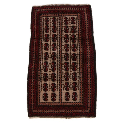 2'5 x 4'6 Hand-Knotted Afghan Baluch Rug, 1990s