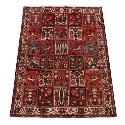 5'2 x 6'10 Hand-Knotted Persian Bakhtiari Pictorial Rug, 1970s