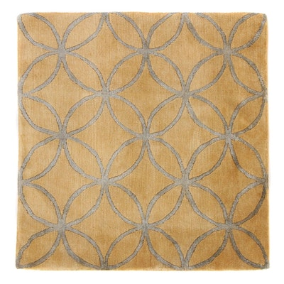 2'11 x 3'0 Hand-Knotted Indian Mid Century Modern Style Rug, 2000s