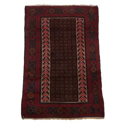 2'11 x 4'6 Hand-Knotted Afghan East Turkestan Rug, 2000s