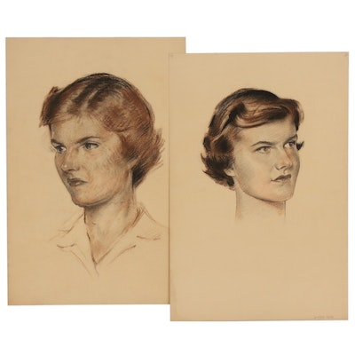 Robert Whitmore Portrait Conte Crayon Drawings