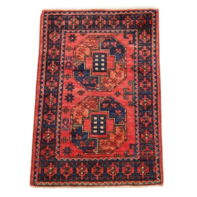 2'1 x 3'0 Hand-Knotted Afghan Turkoman Rug, 2010s