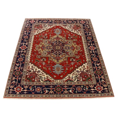 7'11 x 10'3 Hand-Knotted Indo-Persian Heriz Serapi Room Size Rug, 2010s