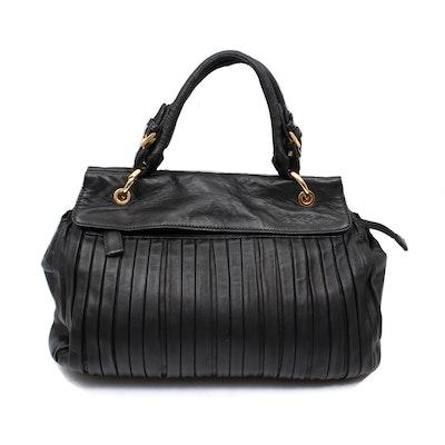 Paolo Masi Plissé Black Leather Shoulder Bag