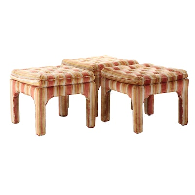 Three Striped Velvet Upholstered Ottomans, Mid to Late 20th Century