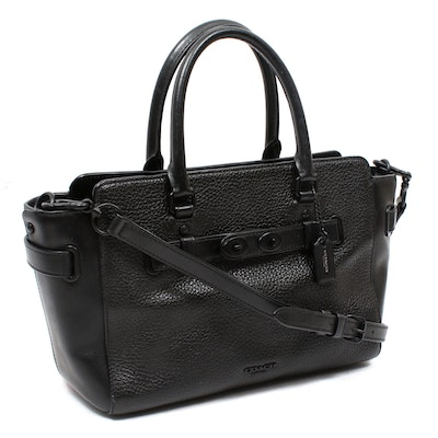 Coach Blake Black Pebbled Leather Carryall Convertible Satchel
