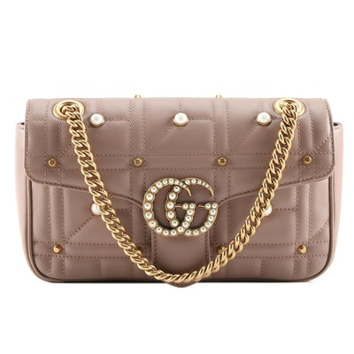Gucci Pearly GG Embellished Matelasse Leather Small Marmont Flap Bag