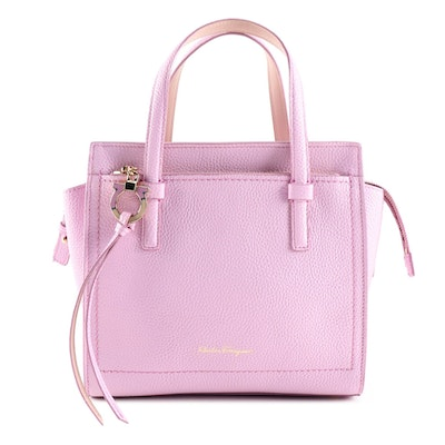 Salvatore Ferragamo Pink Pebbled Leather Mini Amy Tote Bag