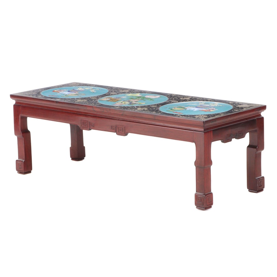 Chinese Stained Hardwood and Cloisonné Inlaid Coffee Table