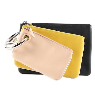 Fendi Multicolor Calfskin Leather Triplette Pouch Set