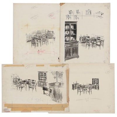 Max Walter Ink and Wash Illustrations of Dining Room Interiors and Furniture