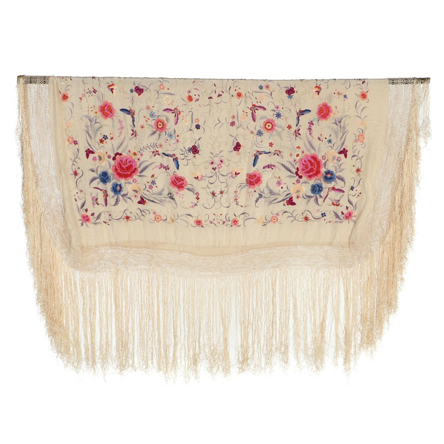 Piano Shawl with Embroidered Florals and Butterflies and Lattice Fringe
