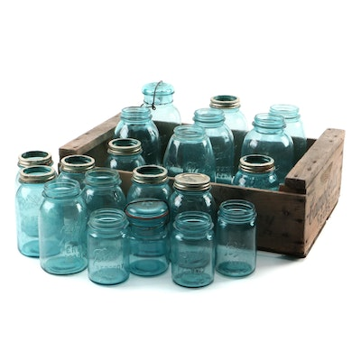 Campbell's Soup Wood Shipping Crate with Blue Colored Canning Jars, Mid-20th C.