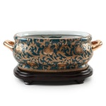 Chinese Oriental Accent Hand-Painted Ceramic Foot Bath with Base