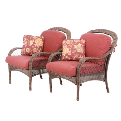 Pair of Synthetic Wicker Lounge Chairs