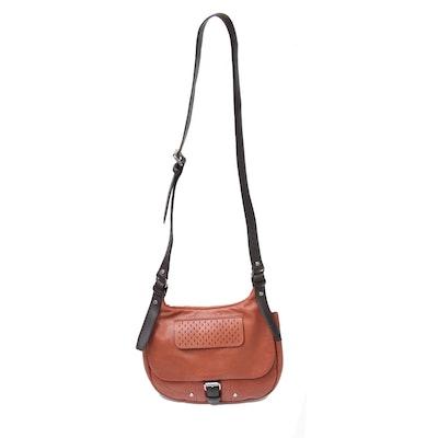 Longchamp Balzane Roots Flap Front Leather Crossbody Bag in Cognac