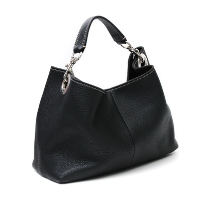 Miu Miu Black Pebbled Leather Shoulder Bag with Contrast Stitching