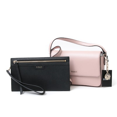 DKNY Pink Textured Leather Bryant Crossbody Bag and Black Saffiano Wristlet
