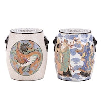 Two Chinese Glazed Ceramic Dragon and Immortal-Themed Garden Seats