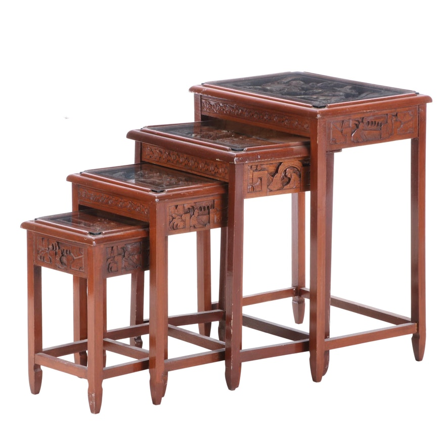 Asian Relief Carved Glass-Top Nested Tables
