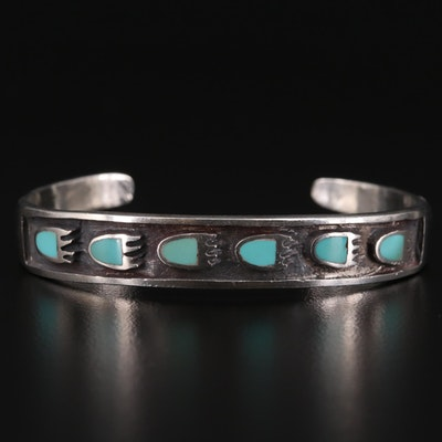 Sterling Silver Turquoise Bear Paw Shadow Cuff