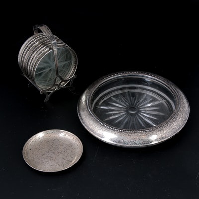 S. Kirk & Son and Other Sterling Silver Rimmed Coasters, Early/Mid 20th Century