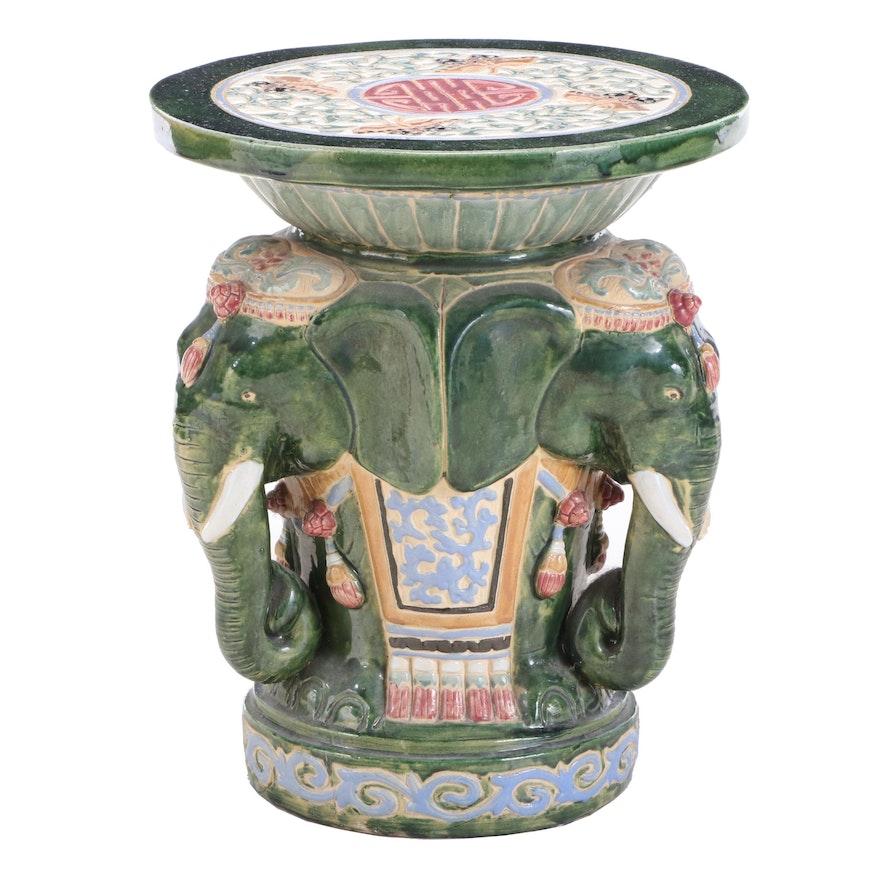 Asian Polychrome-Glazed Ceramic Elephant-Form Garden Stool
