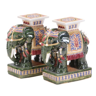 Pair of Chinese Glazed Ceramic Elephant Garden Stools, Mid to Late 20th Century