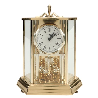 Howard Miller Brass and Glass Anniversary Clock, Late 20th Century