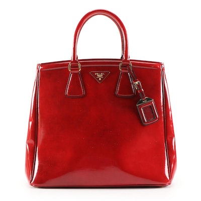 Prada Red Patent Leather Tote Handbag