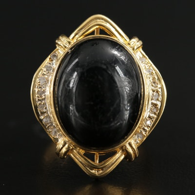 14K Yellow Gold Black Glass and Diamond Ring