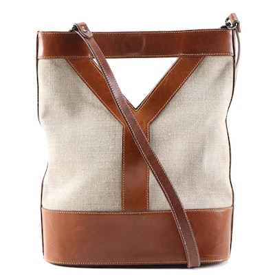 Yves Saint Laurent Linen and Cognac Leather Y Tote Shoulder Bag