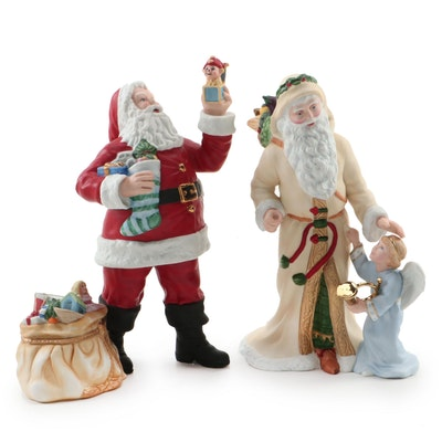 "Lenox ""Santa Claus"" and ""Bavarian Santa"" Porcelain Figurines, 1990s"
