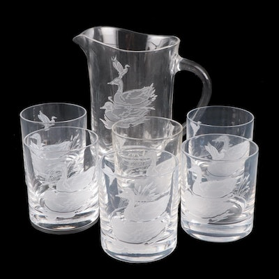 Cartier Crystal Duck and Geese Etched Tumblers and Pitcher