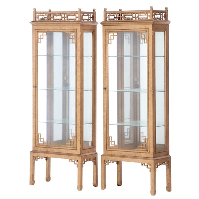 Pair of Chinoiserie Giltwood Display Cabinets