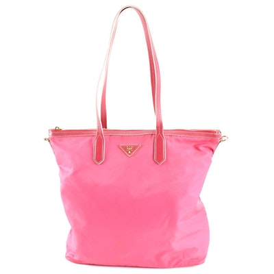 Prada Pink Tessuto Nylon and Leather Two-Way Tote Bag