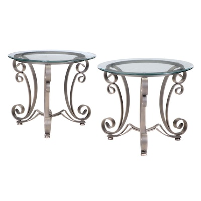 Pair of Scrolled Metal and Glass Top Side Tables