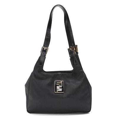 Fendi Black Nylon Medium Logo Tote