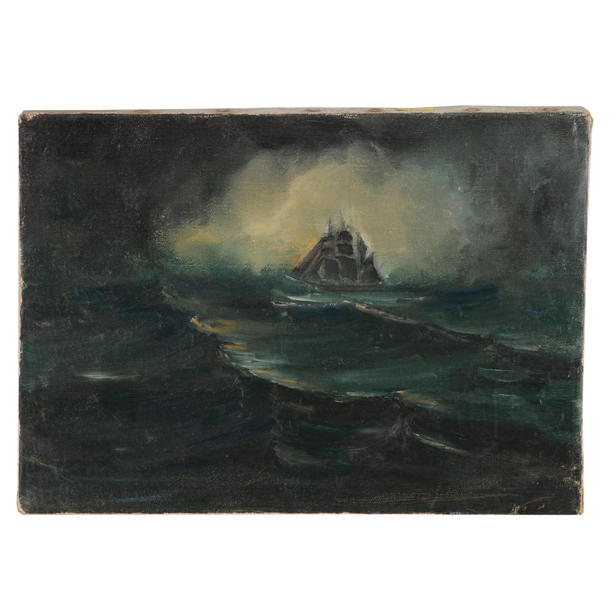 Marine Oil Painting of Ship in a Stormy Sea, Mid 20th Century