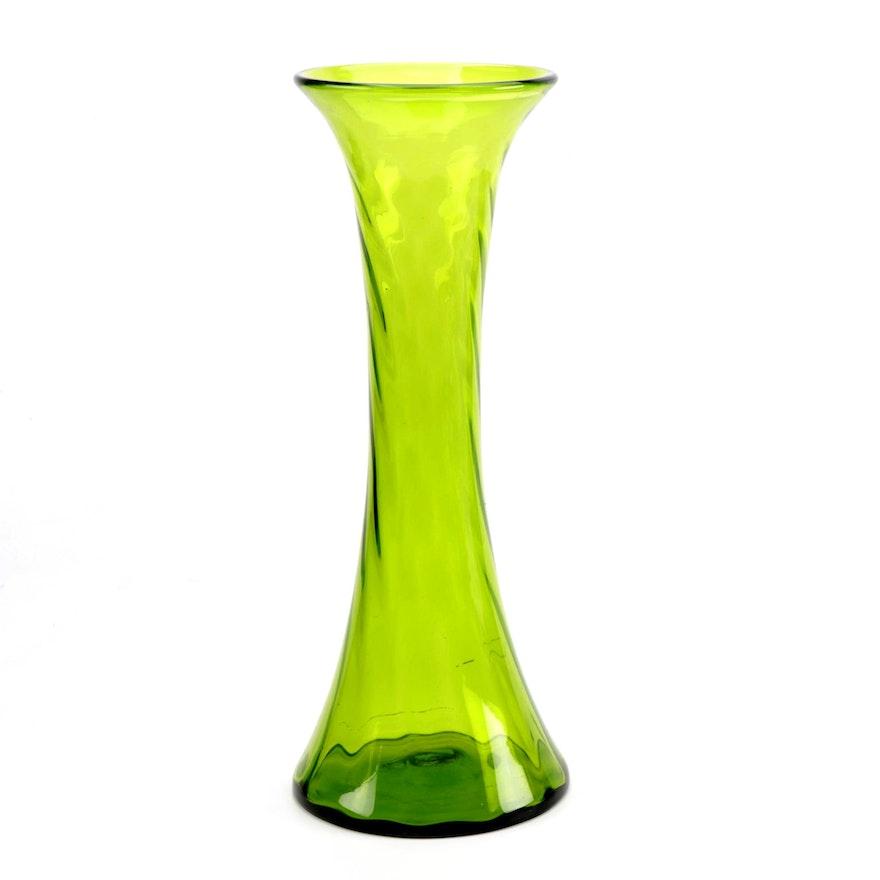 Large Green Blenko Blown Art Glass Floor Vase