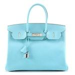 Hermès Bleu Atoll Epsom Leather Birkin 35 with Palladium Hardware