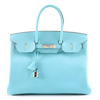 Hermès Bleu Atoll Epsom Leather Birkin 35 with Palladium Hardware