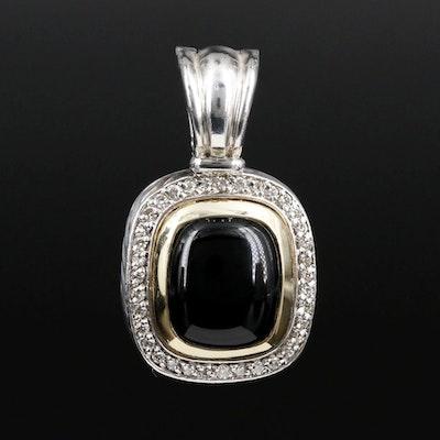 "David Yurman ""Albion"" Sterling and 18K Black Onyx and Diamond Enhancer Pendant"